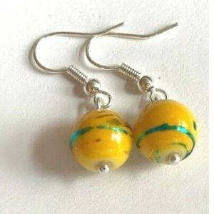 Jewelry - Glass Bead Earrings Silver Yellow Aqua Murano